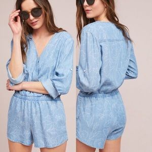 Anthropologie Cloth & Stone Chambray sz XL romper